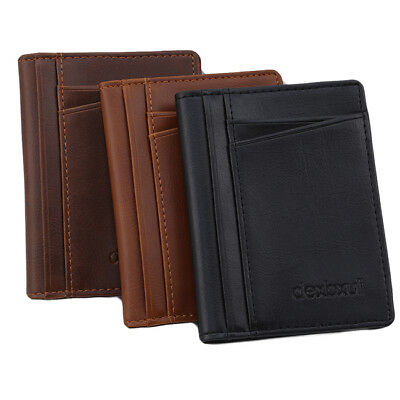 Ultra-thin Mini Wallet Men's Faux Leather Wallet Bifold Purse Card Holder S
