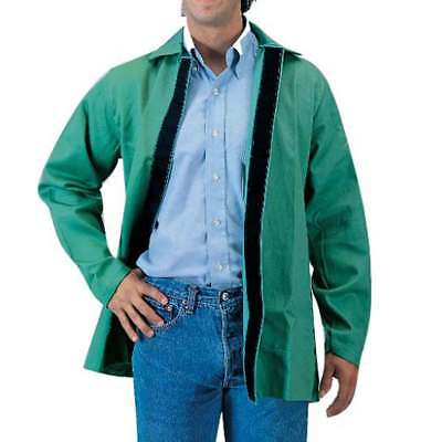 "Tillman 6230V 30"" 9 oz. Green FR Cotton Welding Jacket W/Hook and Loop, Large"