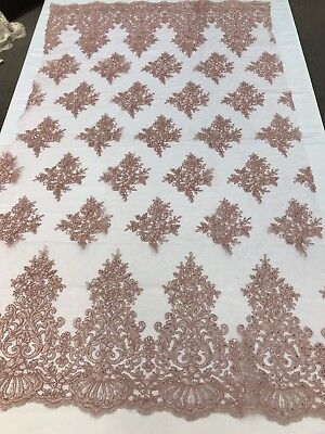 Dusty Rose Damask Lace Embroidery On A Texture Mesh-By Yard.free Shipping.