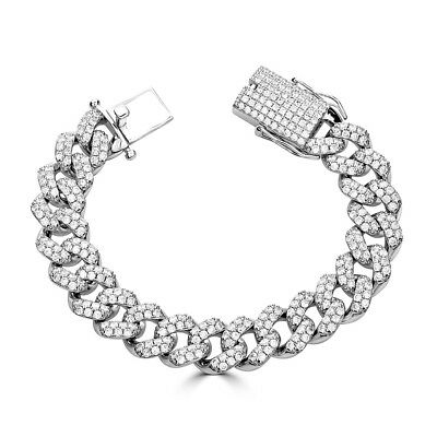 Mens Miami Cuban Link Bracelet Real Solid 925 Silver HEAVY 15mm Iced Out Diamond