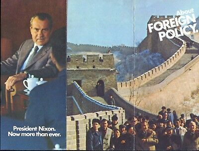 1972 Committee to Re-Elect President Richard Nixon Brochure About Foreign Policy