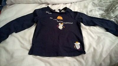 """Girls navy top with mice """"She was the smallest but the mightiest"""" 18-24 months"""