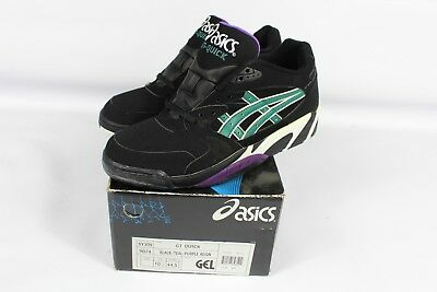 39dab0dc11f1 Vintage 90s New Asics Mens Size 10.5 GT Quick Sneakers Shoes Black Teal  Purple