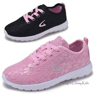 Girls Floral Lace Sneakers Tennis Shoes Kids Youth Casual Athletic New Laces Up