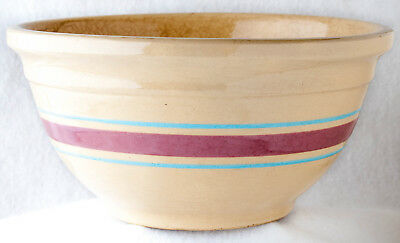 "Mixing Bowl Vintage Oven Ware #10 10"" Dia. Yellow Ware Blue Mauve Bands"