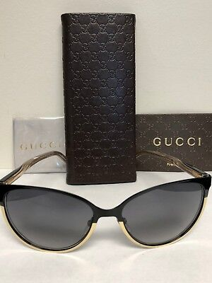 8a10e52fef43f GUCCI WOMENS SUNGLASSES 4255/S Shiny Black & Gold Brand New Cat-Eye VK Lens  140m