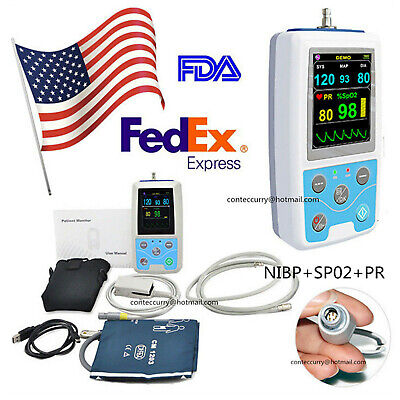 FDA PM50 24Hour Portable Vital Signs Patient Monitor NIBP/SpO2/PR,PC Software