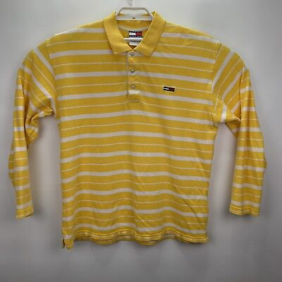 c34b89122a3 Vintage 90s Tommy Hilfiger Jeans Mens Sz L Yellow Flag Logo Polo Rugby Shirt