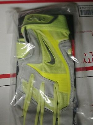 Nike Mvp Elite Pro Xl Premium  Baseball Batting Gloves, Yellow Grey