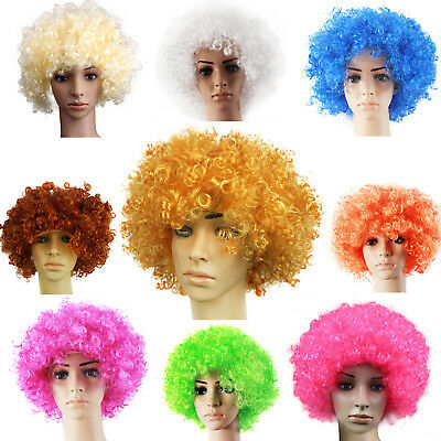 Afro Wig Fancy Dress Curly Mens Ladies Clown Hair 70S Disco Football Supporter
