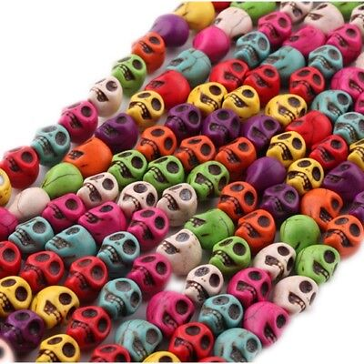 36 pcs Multi-Colored Turquoise Skull Head shape Spacer Loose Beads Charms 10mm