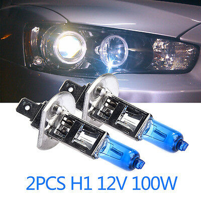 2Pcs H1 12V 100W Xenon 6000k Head Light Lamp Globes Bulbs Halogen Fog For Car
