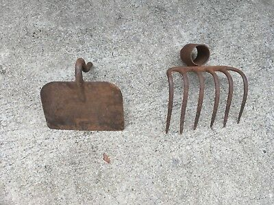 Vintage Rustic Farm Garden Rake and Hoe Head
