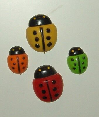 3.vintage 4 Bug Shaped Magnets To Decorate Metal Objects  Or Add To A Collection