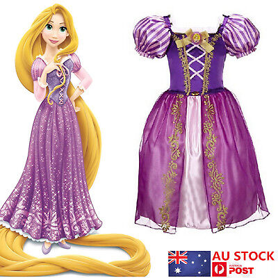 AU Kids Girls Tangled Rapunzel Princess Dress Fancy Dress Costume Cosplay Outfit