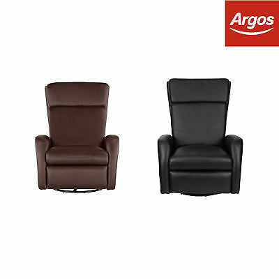 Argos Home Rock-R-Round Leather Effect Recliner Armchair Chair Black / Chocolate