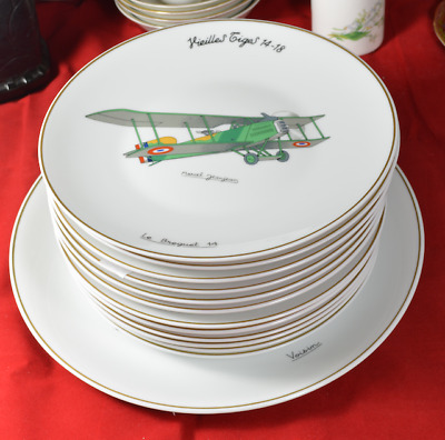 Antique France Limoges plates, World War I Plane, Aircraft, War Collection
