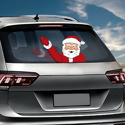 Christmas Waving Santa Claus Tags Decoration Window Car Decals Wiper Sticker