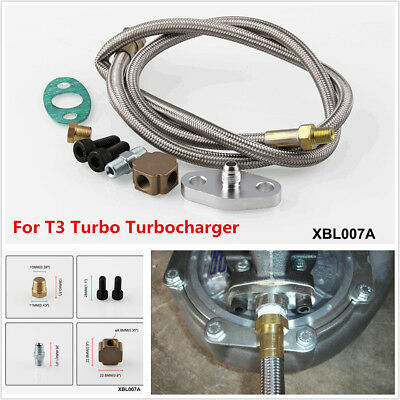 Cars Stainless Steel Universal T3 Turbo Turbocharger Oil Feed Line Adapter Kit