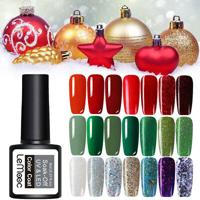 Christmas Collection UV Nail Gel Polish Glitter Soak Off Varnish Red Green 8ml