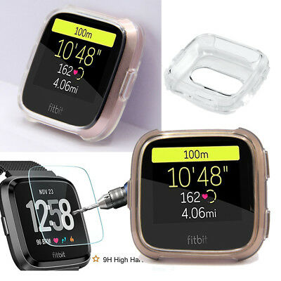 Silicone Gel TPU Case Cover+Tempered Screen Protector For Fitbit Versa SmartBand
