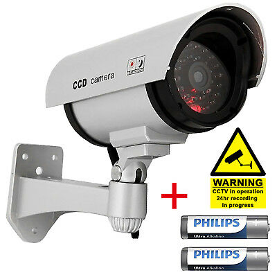 High Quality Fake Dummy CCTV Security Camera Flashing LED Indoor Outdoor Silver