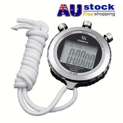 AU Metal Handheld Stopwatch LCD Sports Counter Digital Timer for Fitness Sports