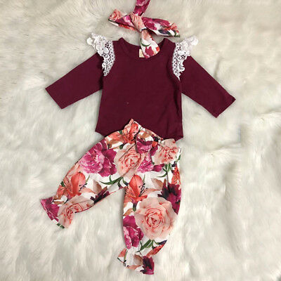AU 3Pcs Newborn Baby Girl Lace Tops Romper Floral Pants Leggings Outfits Clothes