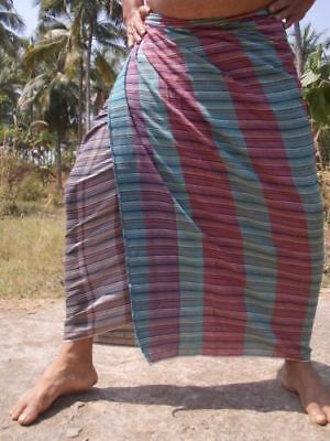 Indian 100% Cotton Striped Lungi Sarong Dhoti Different Colours Men or Women