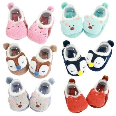 Toddler Non-Slip Boot Socks Baby Girls Cartoon Warm Shoes Anti-slip Slipper US