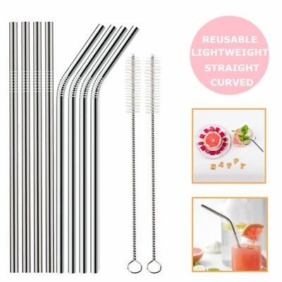 8 x Stainless Steel Metal Drinking Straw Straws Bent Reusable + 2 Brushes ECO UK