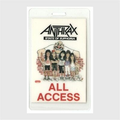 Anthrax authentic 1988 concert Laminated Backstage Pass State of Euphoria Tour