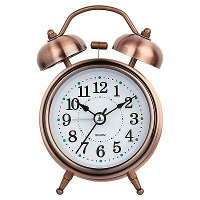 Vintage Alarm Clock Twin Bell Copper Color Extra Loud Table Alarm Clock