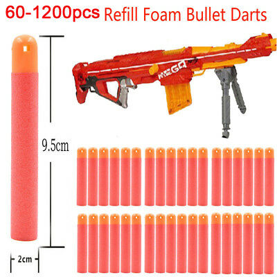 60/1200pcs 9.5cm Refill Foam Bullet Darts for Nerf N-Strike Elite Mega Gun Toy
