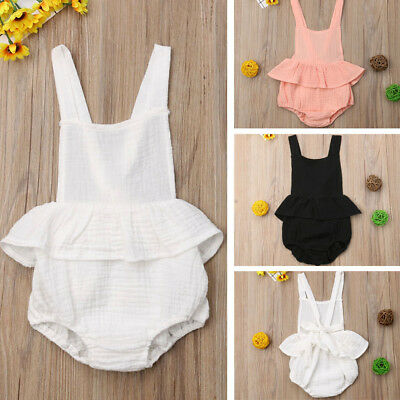AU Stock Newborn Baby Girl Summer Solid Romper Bodysuit Jumpsuit Outfits Clothes