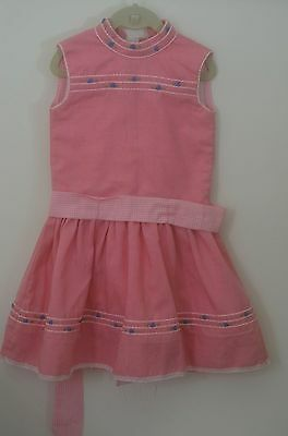 SWEET VINTAGE 1960's GIRLS DRESS WITH GATHERED DROP WAIST TT16
