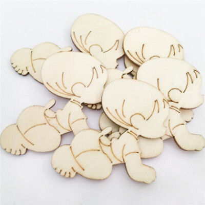 10PCS Cute Baby Shape Wooden Chips Craft Piece Kids Baby Bedroom Wall Decoration