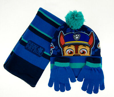 Boys Paw Patrol Hat Gloves & Scarf Winter Set Kids Chase Character Knitwear Size