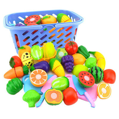 6Pack Plastic Pretend Kitchen Toy Fruit Vegetable Cutting Food Set For Kids Play
