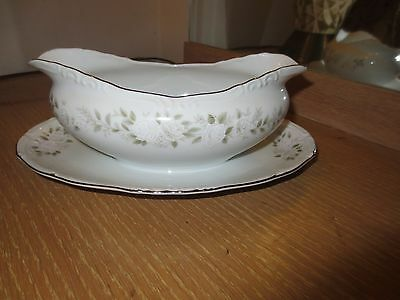 Sheffield  Classic 501 Fine China Gravy Boat With Attached Under Plate Japan