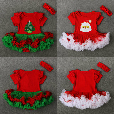 AUStock Christmas Baby Girl Toddler Kids Lace Romper Dress Party Dresses Costume