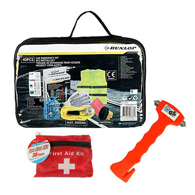 79Pc Car Emergency Hammer Breakdown Assistance Spares & Pocket First Aid Kit