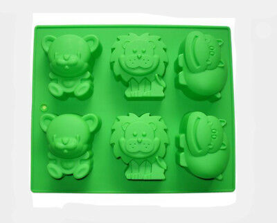 6 animal-shaped Silicone Cake Soap Mould Jelly DIY Mold Christmas with baking