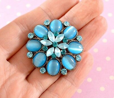 Pretty Vintage Style Brooch with Blue & Turquoise Glass Rhinestones & Cabochons