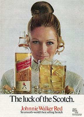 """Vintage Johnnie Walker Red Label Whisky Print Ad - """"the Luck Of The Scotch"""""""