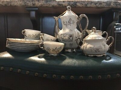 Sterling China (Japan) Silver & White Porcelain 25th Anniversary Tea Set For 6