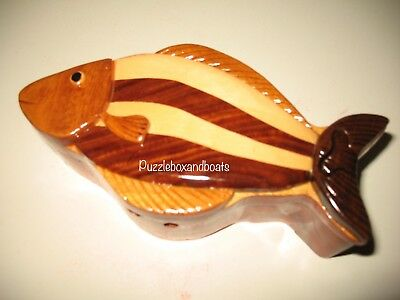 CLOSING-SALE !!!!Hand-carved FISH Jewelry Puzzle BOX (#11006)