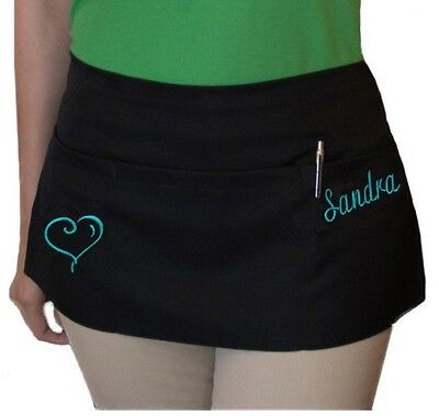 1 new black server apron, 3 pocket waist waiter waitress apron restaurant Custom
