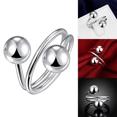 Women Fashion Jewelry 925 Sterling Silver Plated Size 8 Beads Ring Thumb Finger