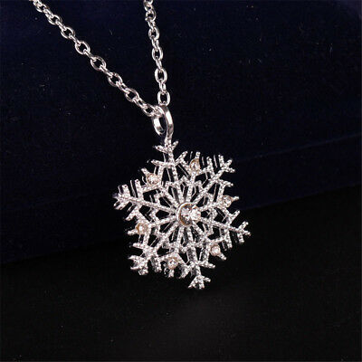 Charm Silver Frozen Snowflake Crystal Necklace Pendant Chain Christmas Hot Sale